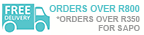 Free Courier orders over R800 and Free Post office oreders over R350